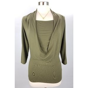 Etcetera Olive Green Draping Neck Top Small